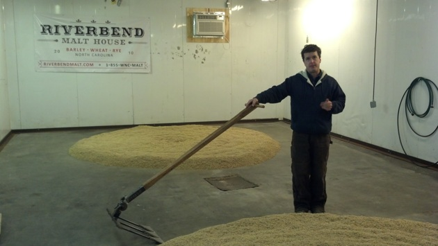 Brent demonstrating the use of his bad-assed malt rake from like the 1800s.