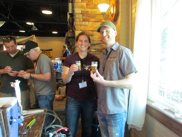 Margaret and Brian bask in the glow of homebrew glory among the pros.
