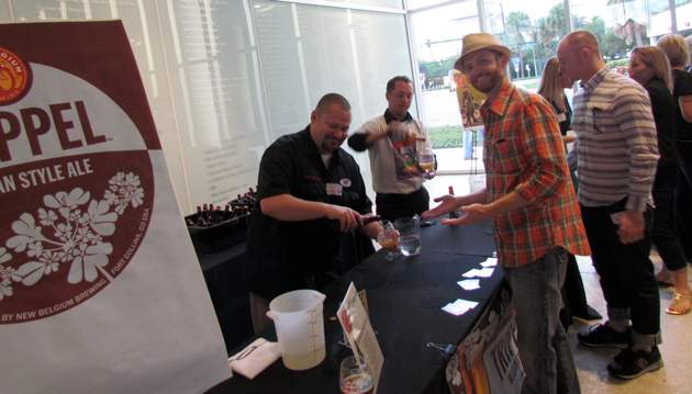 Jeff Sipes, the Florida sales manager, pours a Trippel for me at the launch party on Tuesday night. Jeff is blazing the trail for New Belgium's launch.
